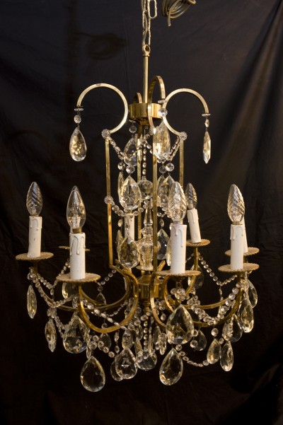 antique brass and crystal french chandelier
