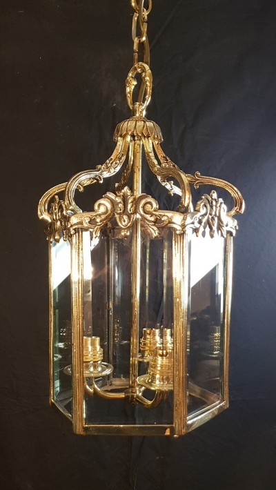 Beautful antique brass and bevelled glass lantern