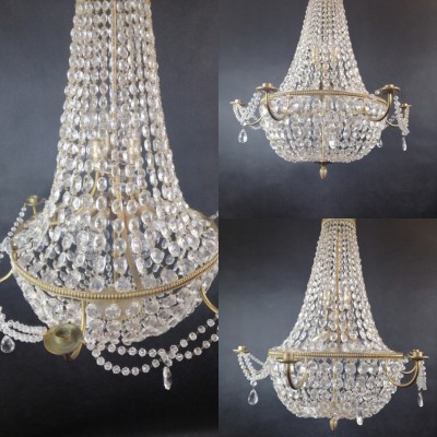 Old Brass and Crystal French Tent and Bag Chandelier